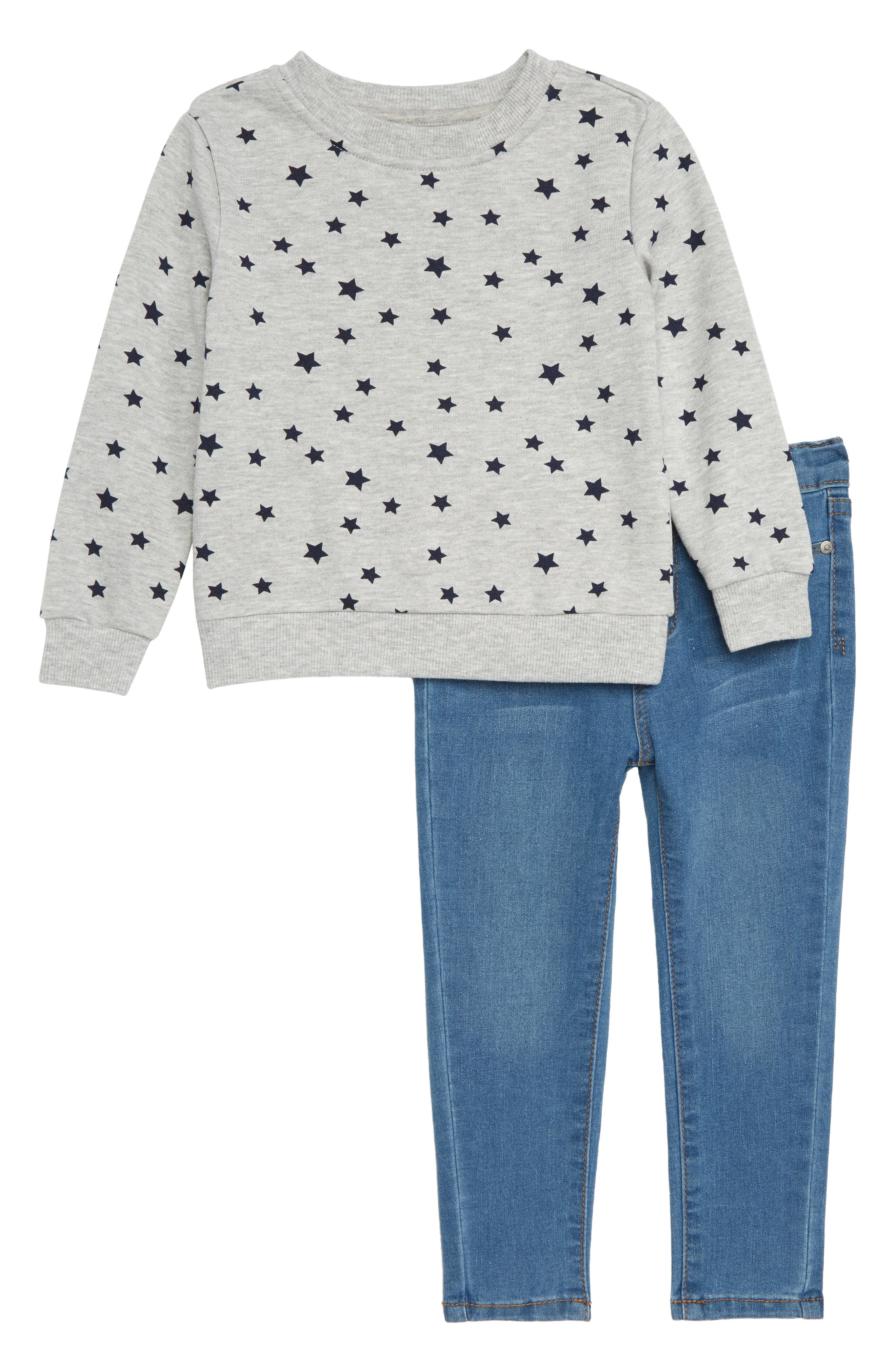Sweatshirt & Jeans Set,                         Main,                         color, Cloud Wash
