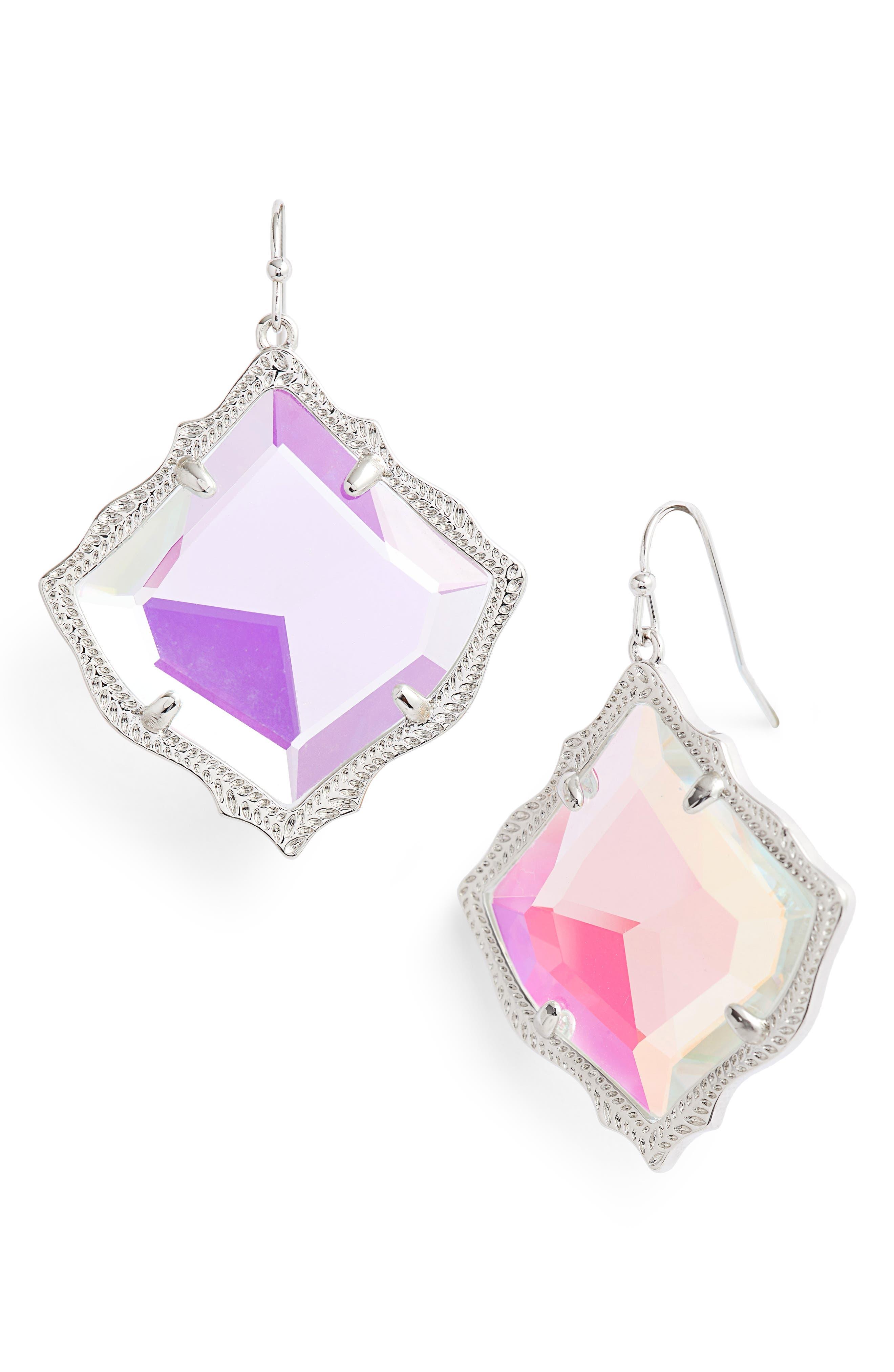 Kirsten Drop Earrings,                             Main thumbnail 1, color,                             Dichroic Glass/ Silver