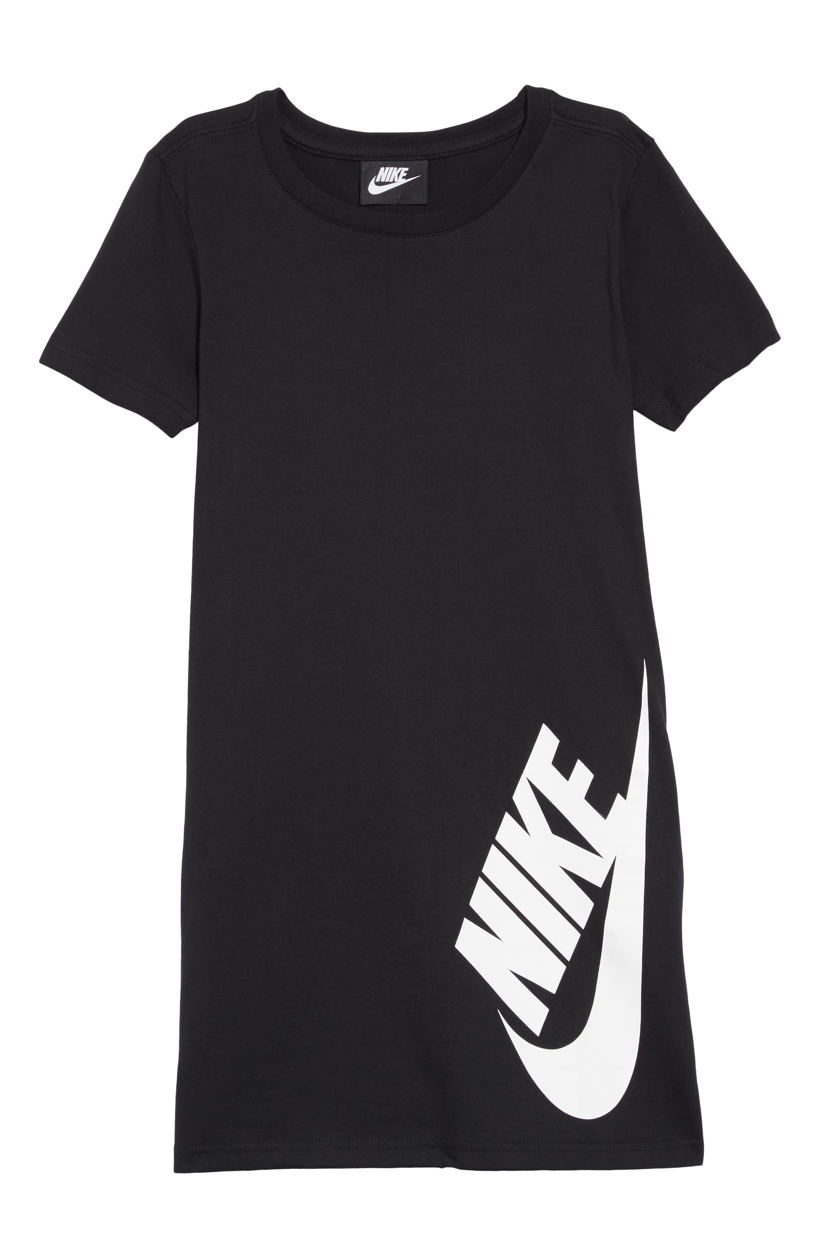 Sportswear Logo Shirtdress,                             Main thumbnail 1, color,                             Black/ White