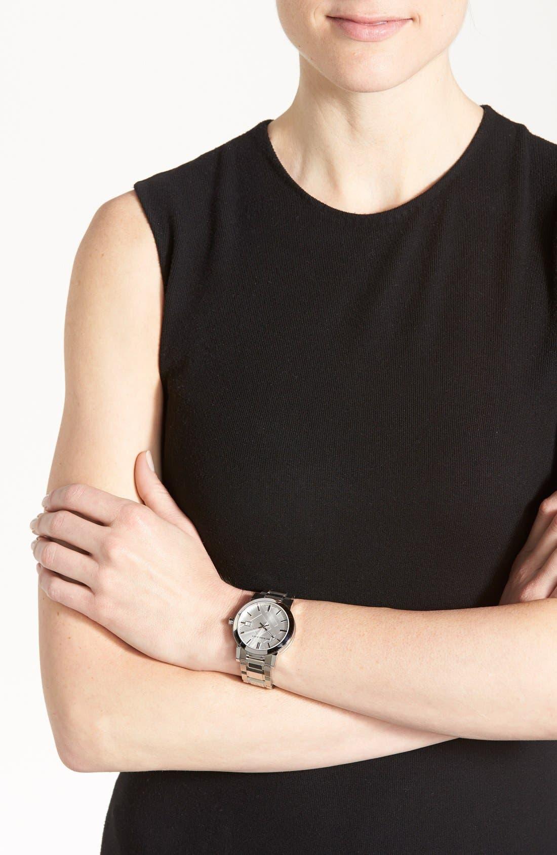Alternate Image 4  - Burberry Large Check Stamped Bracelet Watch, 38mm