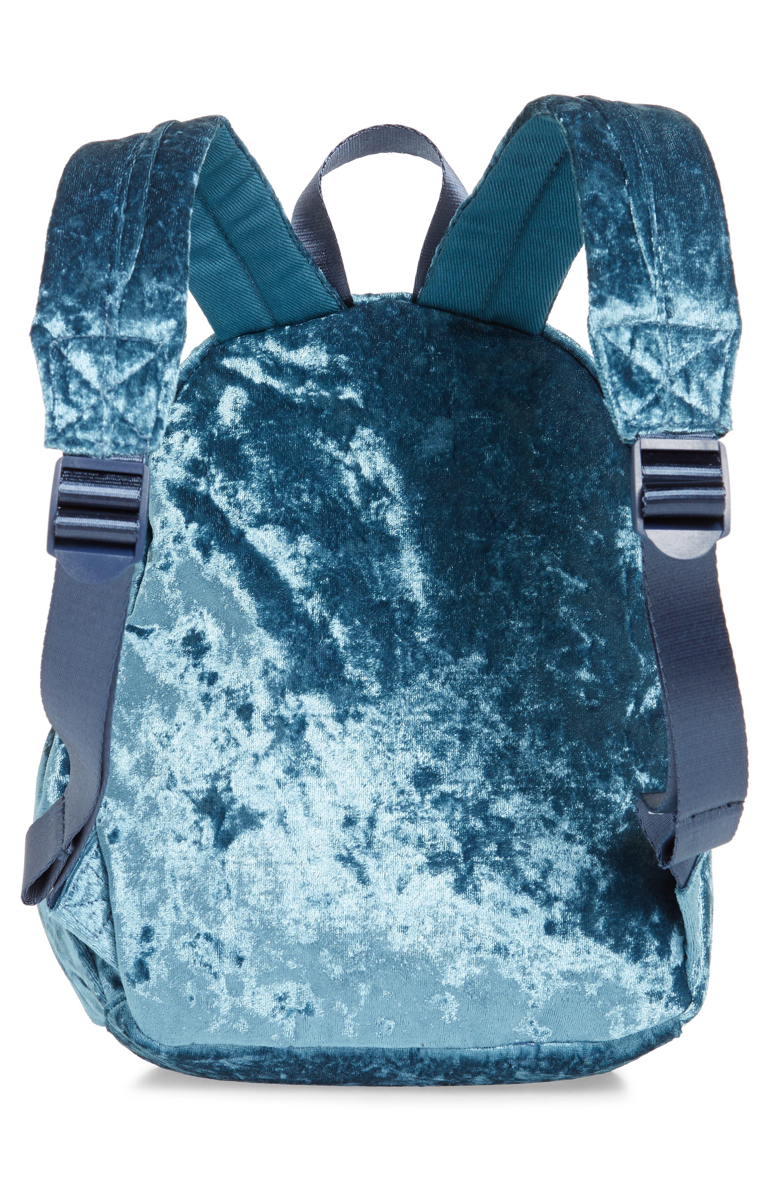 Crushed Velvet Backpack,                             Alternate thumbnail 2, color,                             Brilliant Turquoise