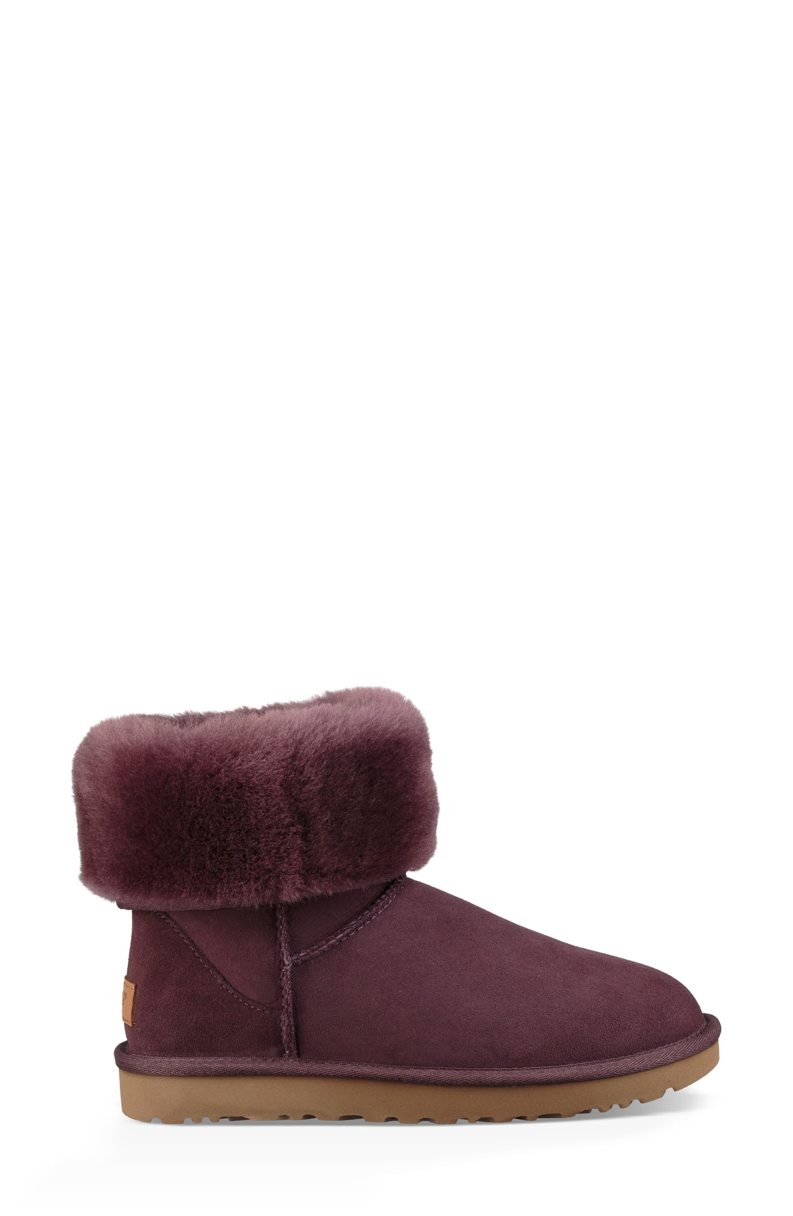 'Classic II' Genuine Shearling Lined Short Boot,                             Alternate thumbnail 5, color,                             Port