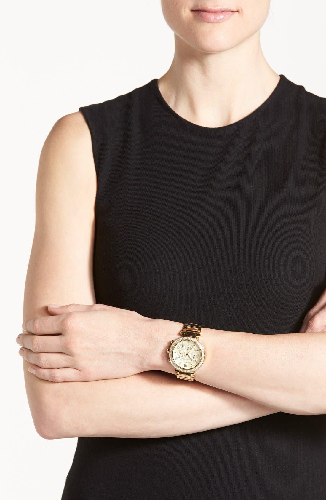 Michael Kors 'Parker' Chronograph Bracelet Watch, 39mm,                             Alternate thumbnail 6, color,                             Gold