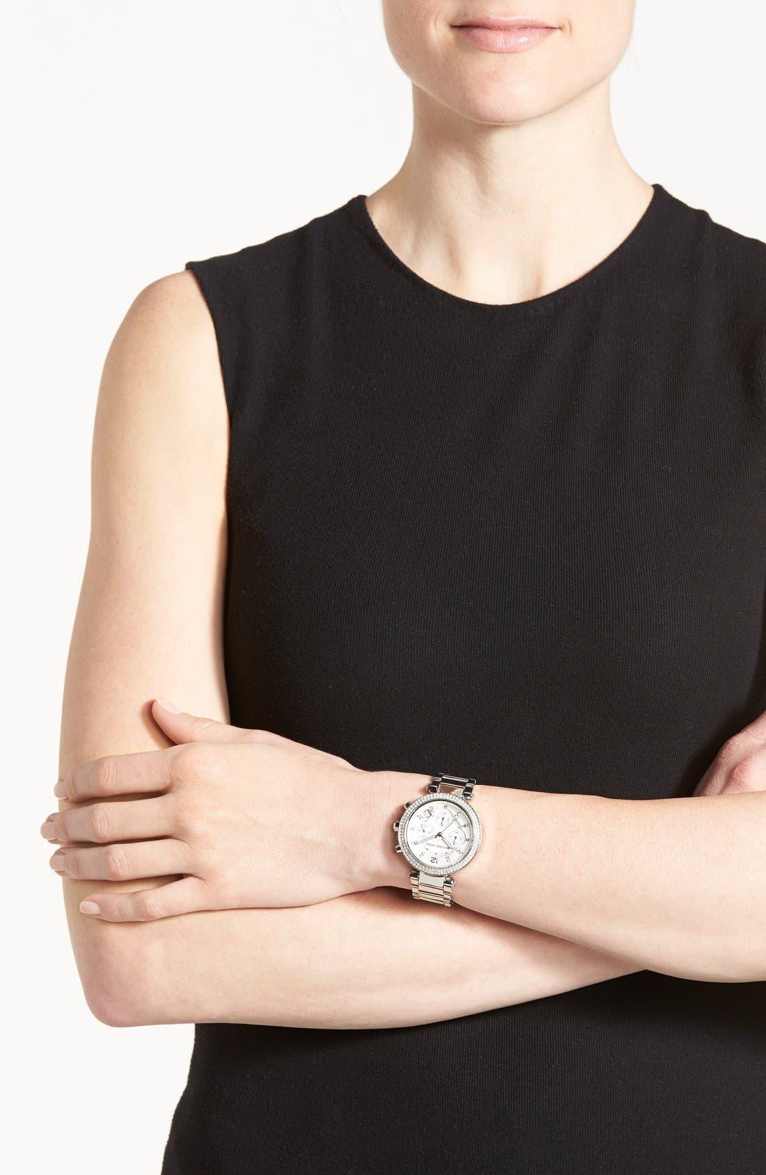 Michael Kors 'Parker' Chronograph Bracelet Watch, 39mm,                             Alternate thumbnail 6, color,                             Silver