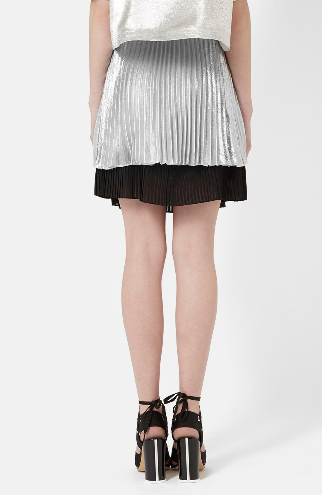 'Sun Ray' Two Tier Pleated Skirt,                             Alternate thumbnail 2, color,                             Silver