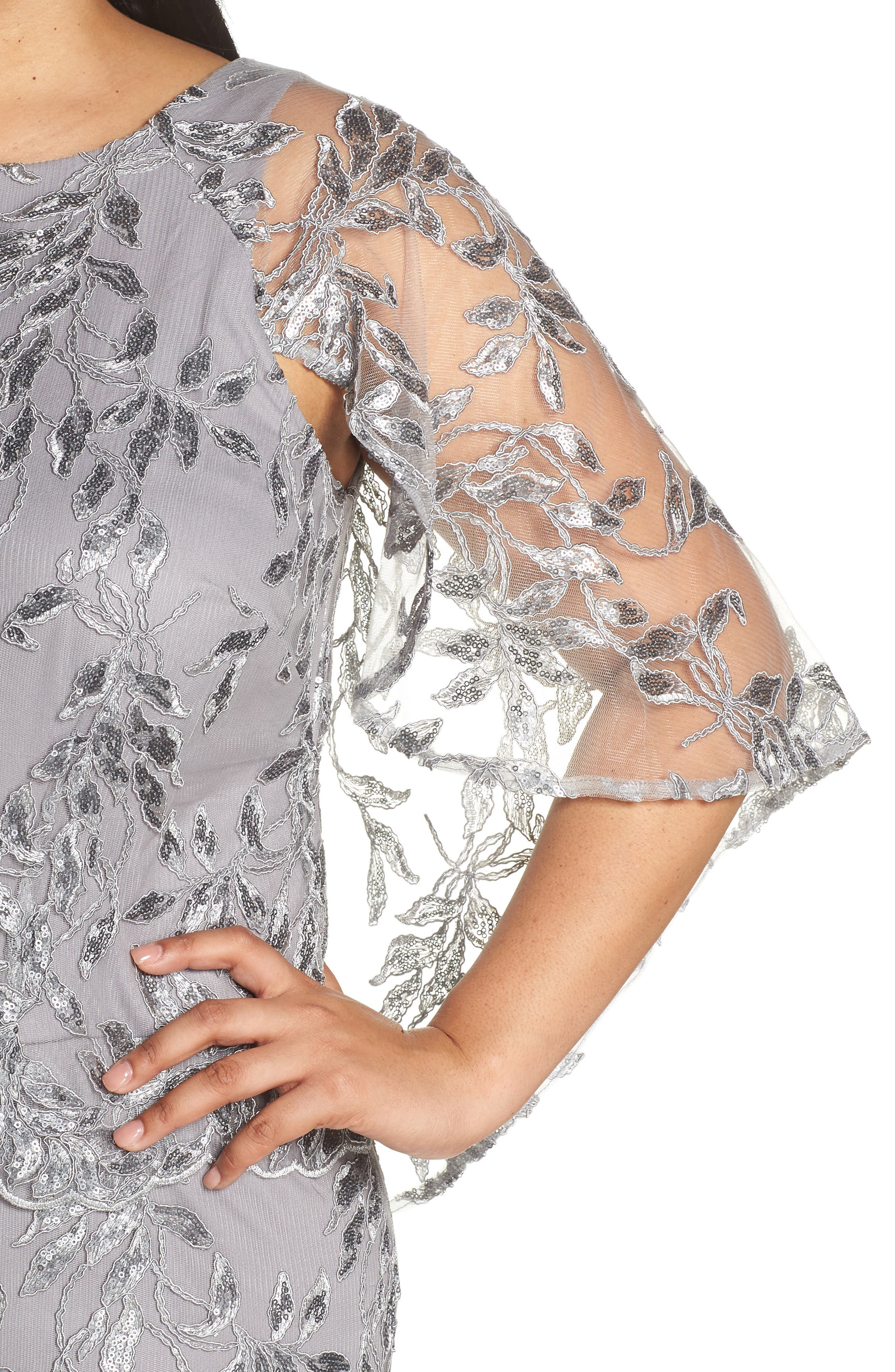 Sequin Embroidered Capelet Gown,                             Alternate thumbnail 4, color,                             Silver