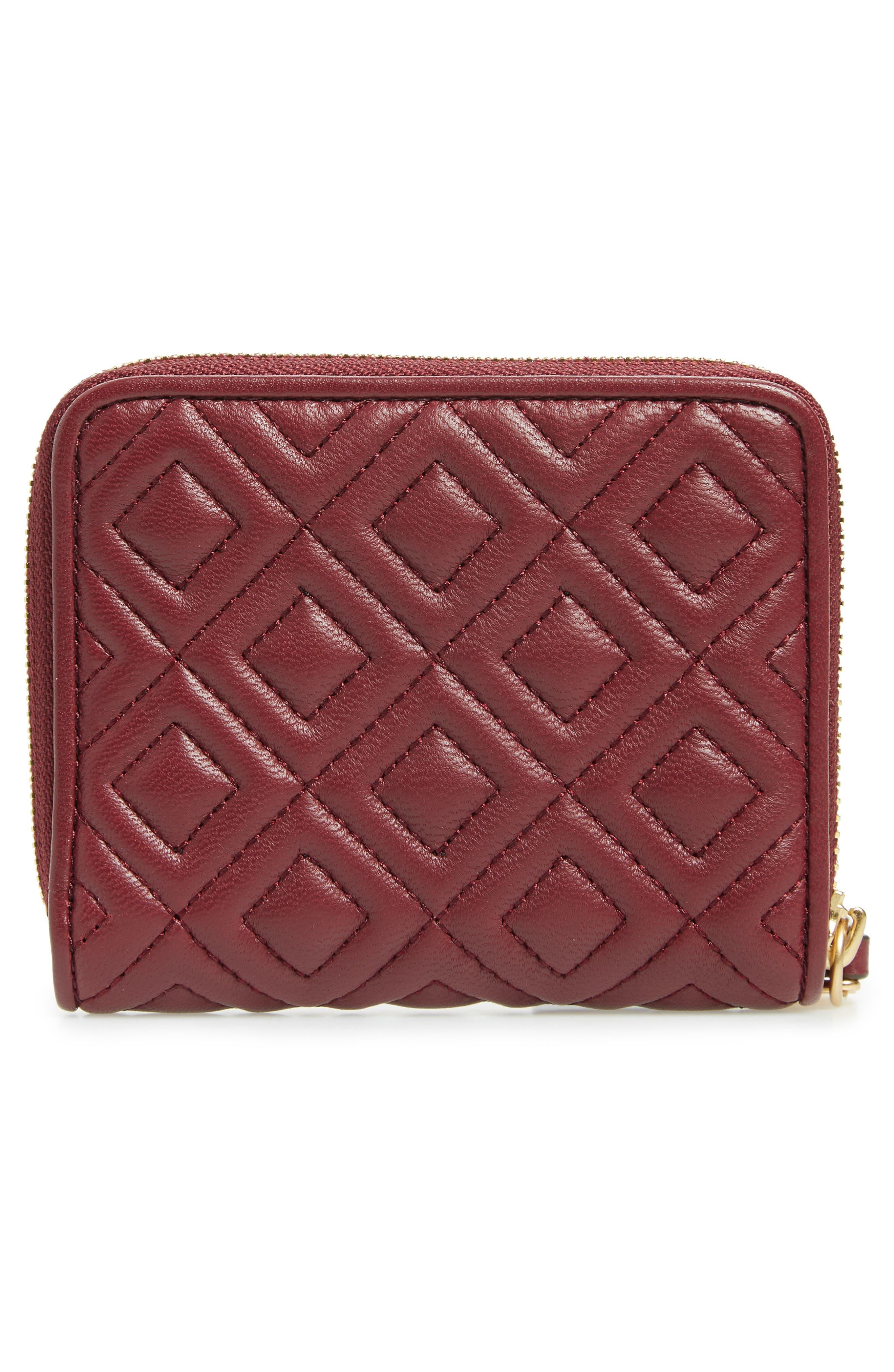 Fleming Medium Leather Zip Around Wallet,                             Alternate thumbnail 4, color,                             Imperial Garnet