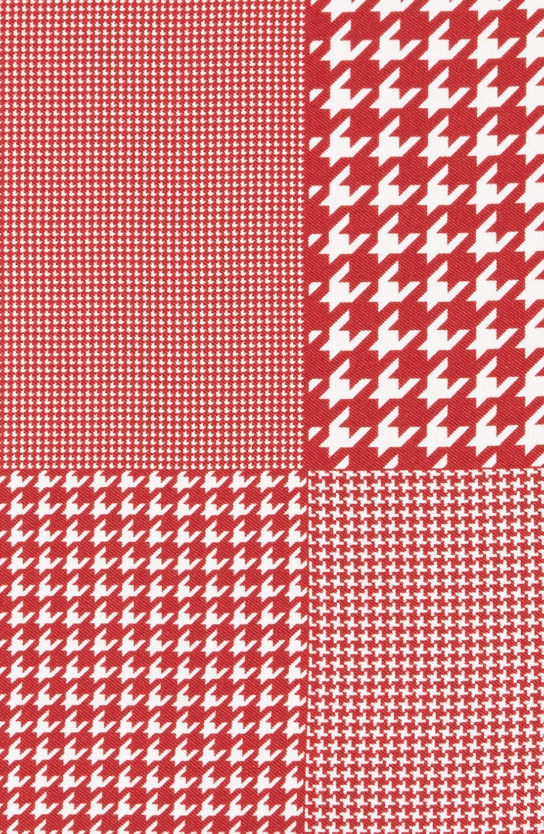 Houndstooth Silk Pocket Square,                             Alternate thumbnail 3, color,                             Red