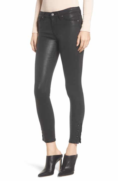 Hudson Jeans Nico Crop Super Skinny Jeans (Black Wax) by HUDSON