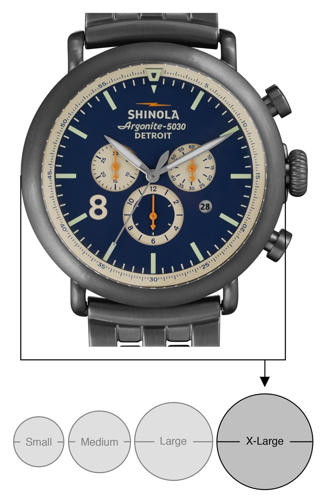 'The Runwell Contrast Chrono' Bracelet Watch, 47mm,                             Alternate thumbnail 7, color,                             Gunmetal/ Blue