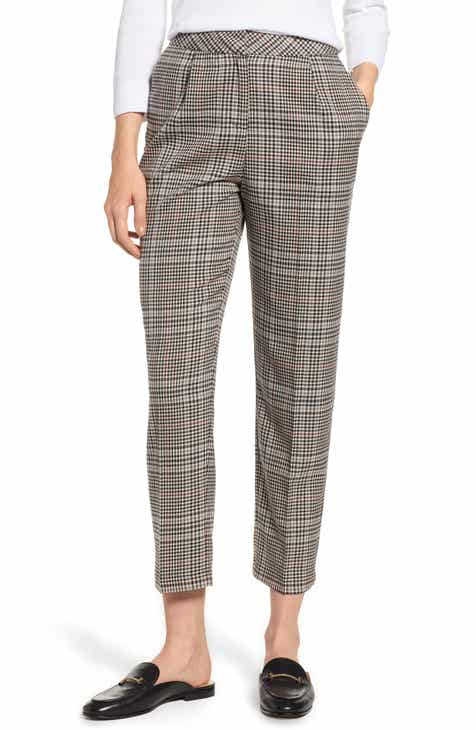1.STATE Check Plaid Tapered Leg Pants