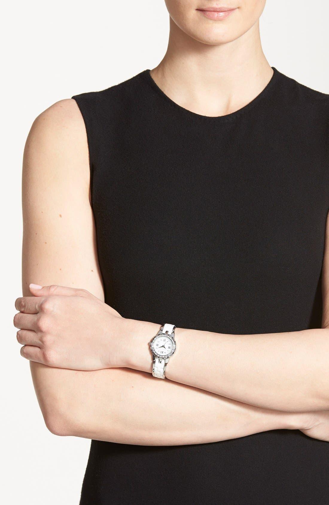 Alternate Image 4  - Anne Klein Crystal & Ceramic Bracelet Watch, 25mm