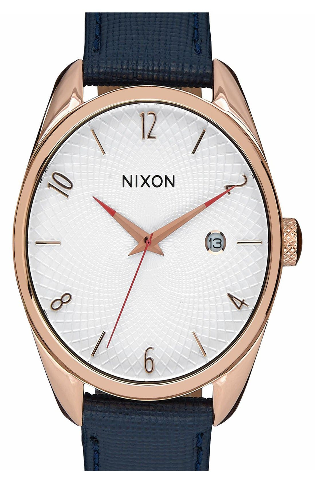 NIXON Bullet Guilloche Dial Oval Leather Strap Watch, 38mm