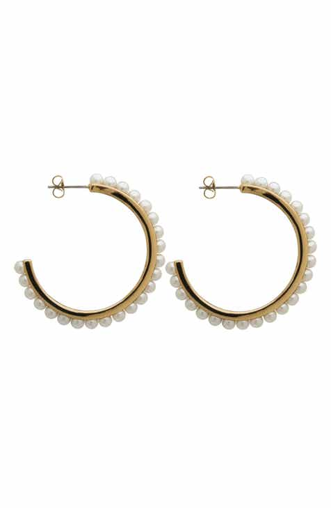 L Erickson Imitation Pearl Hoop Earrings