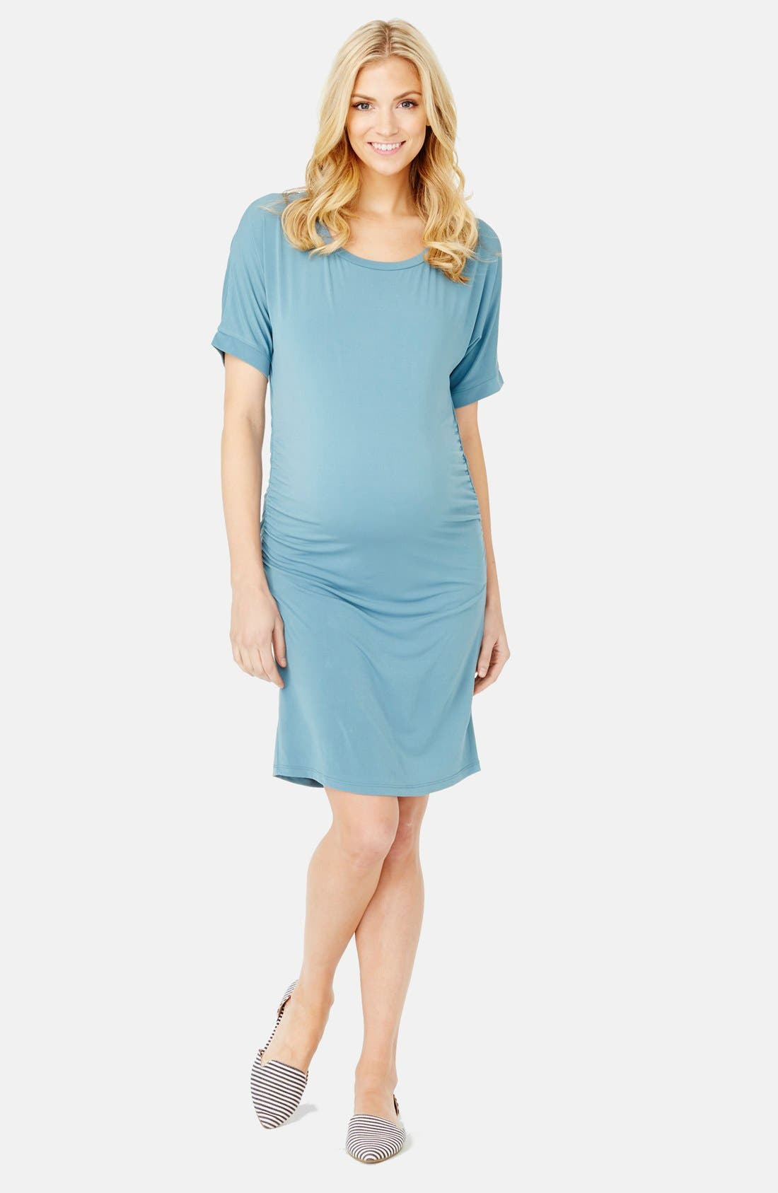 'Lauren' Maternity Dress,                             Main thumbnail 1, color,                             Ocean