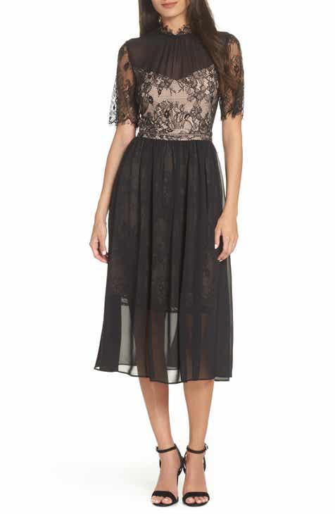 AVEC LES FILLES Lace Bodice Tea Length Dress