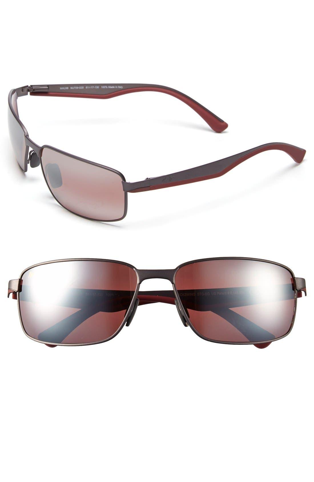 'Backswing - PolarizedPlus<sup>®</sup>2' 61mm Polarized Sunglasses,                         Main,                         color, Satin Dark Gunmetal/ Maui Rose