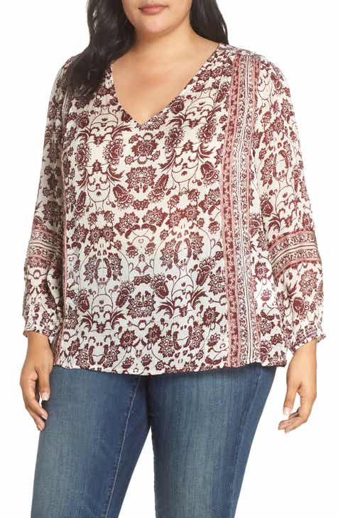 3342982a3a3 Lucky Brand Border Print Peasant Blouse (Plus Size)
