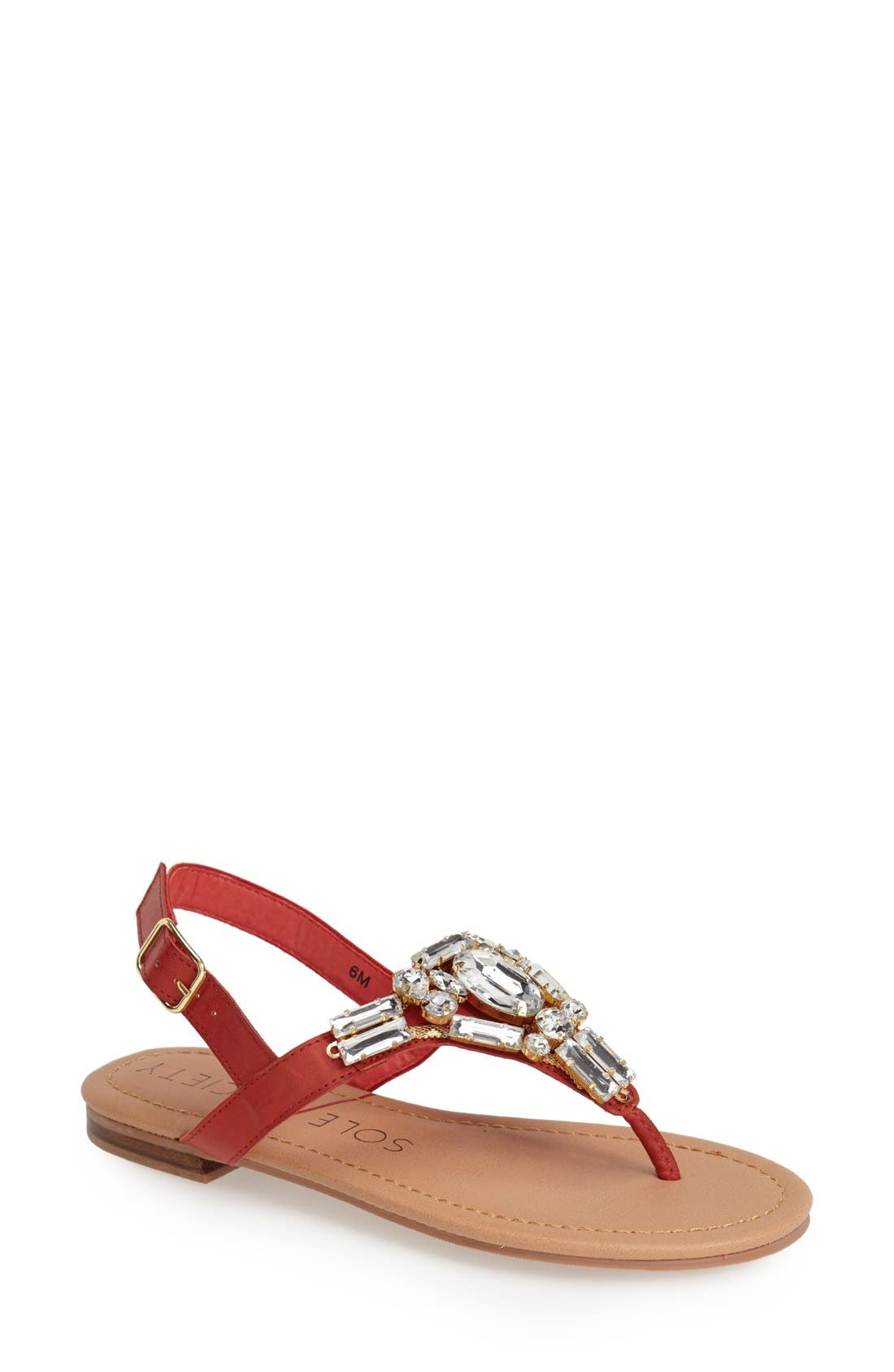 Alternate Image 1 Selected - Sole Society 'Angelin' Crystal Sandal (Women)
