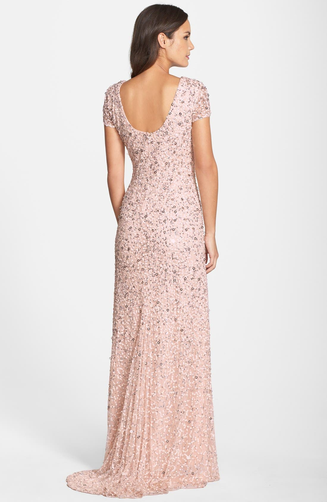 Alternate Image 2  - Adrianna Papell Short Sleeve Sequin Mesh Gown (Regular & Petite)