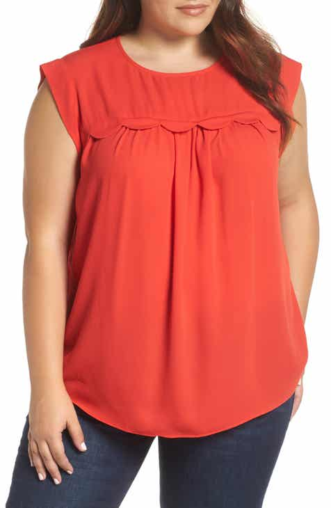 &.Layered Scallop Trim Blouse (Plus Size)