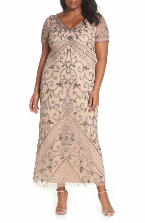 4f541ef906c Pisarro Nights Beaded Mesh Gown (Plus Size)