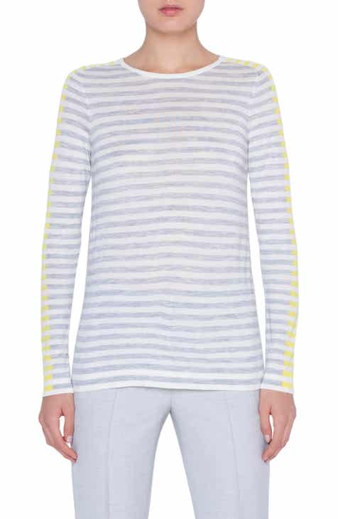 Akris punto Multicolor Stripe Knit Pullover by AKRIS PUNTO