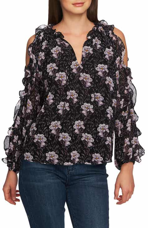 13e56823a728d STATE Bloomsbury Floral Ruffle Cold Shoulder Top