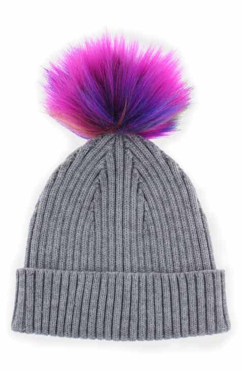 1f1ca1a7dd367 Capelli New York Ribbed Cuffed Hat with Multicolor Pom (Big Girls)