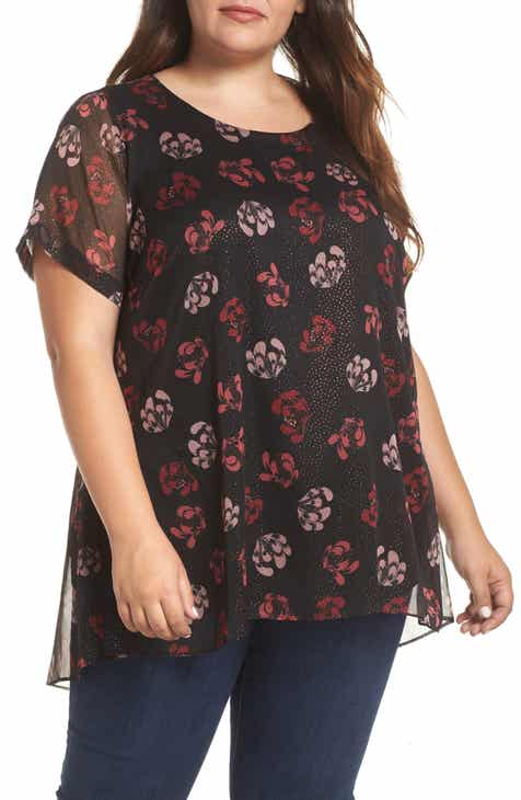 2e0b7c0a717 Vince Camuto Stamped Floral Tunic (Plus Size)