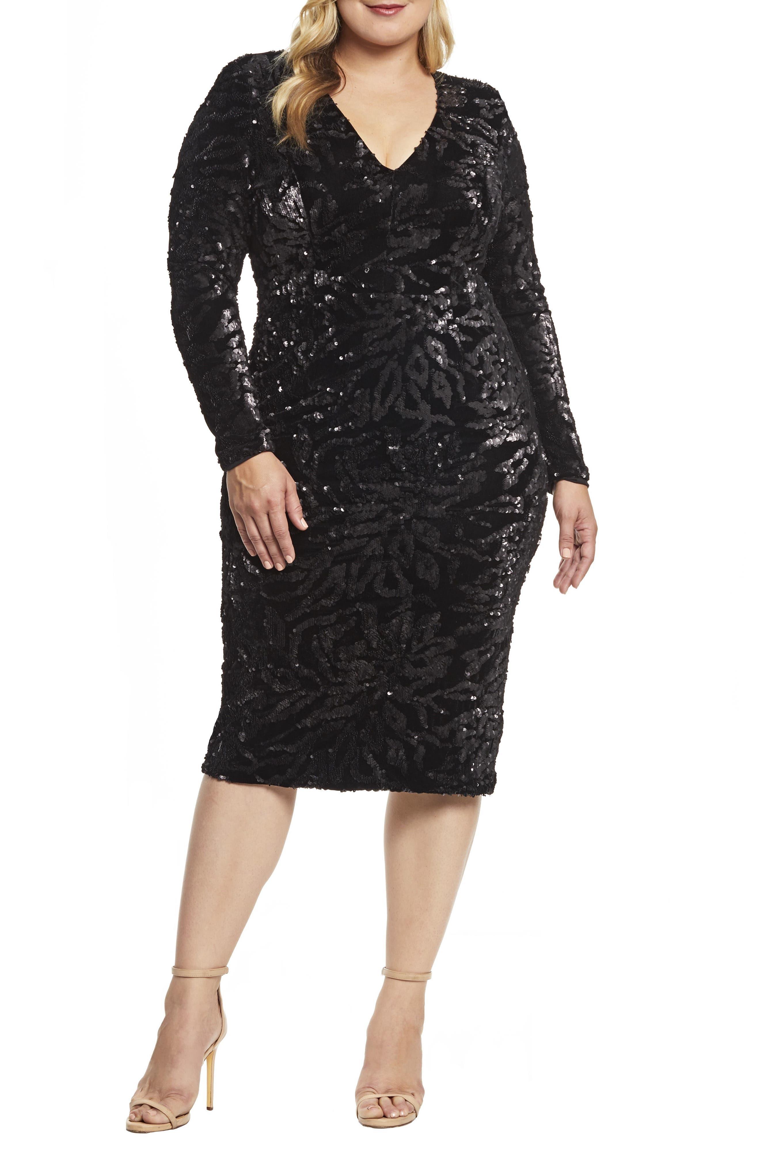 Midi Plus Size Black Cocktail Dresses