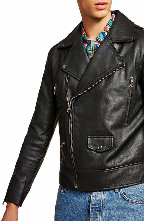 bf57402cf61ec Topman Classic Fit Leather Biker Jacket