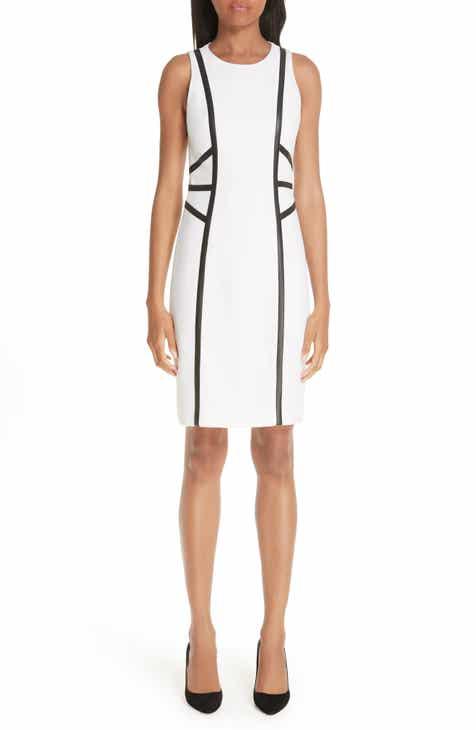 Michael Kors Leather Trim Bouclé Crepe Sheath Dress by MICHAEL KORS