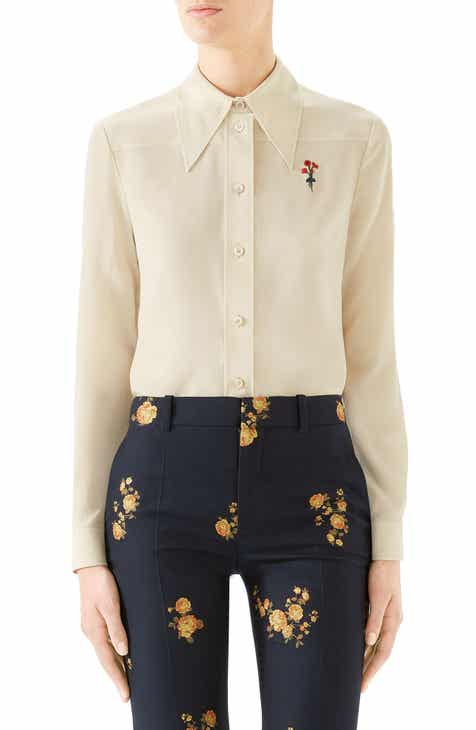 64630120473 Gucci Floral Embroidered Silk Crêpe de Chine Blouse