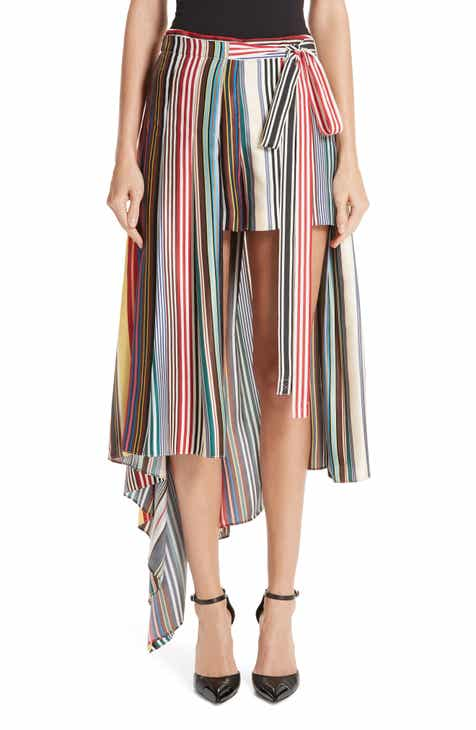 MONSE Stripe Silk Shorts with Overskirt by MONSE