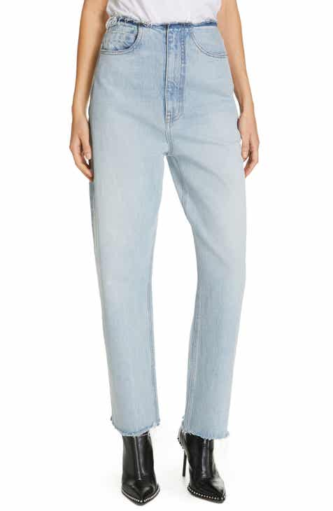 c89f7c82146 Denim x Alexander Wang Brace Distressed Waist Wide Leg Jeans (Pebble Bleach)