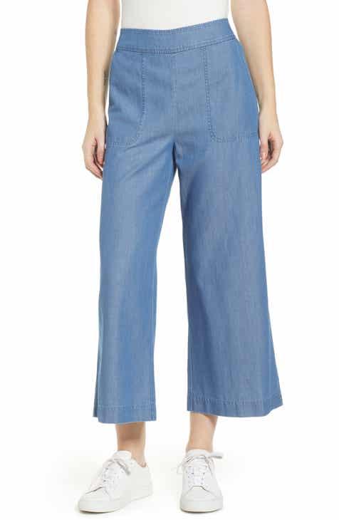 bd92d45e72c31 Chambray Wide Leg Crop Pants (Regular   Plus Size)