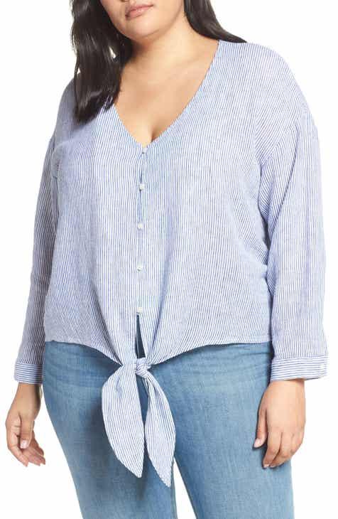 b86de216e5519 Caslon® Tie Front Linen Blend Shirt (Plus Size)
