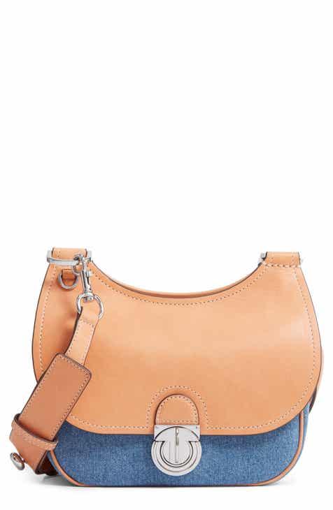 fb00d6638c4 Tory Burch Small James Denim   Leather Saddle Bag