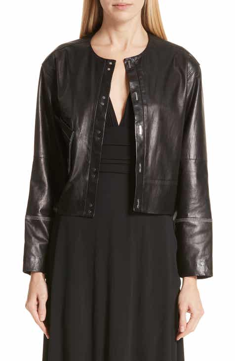 Yigal Azrouël Collarless Leather Jacket by Yigal Azrouel