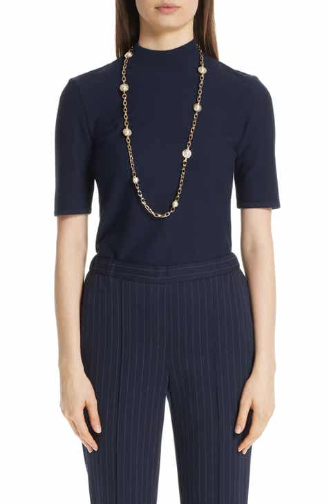 St. John Collection Bird's Eye Luxe Sculpture Knit Top by ST. JOHN COLLECTION