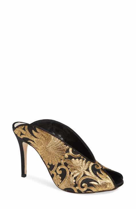 df43b556789 Something Bleu Hadley Embroidered Peep Toe Mule (Women)