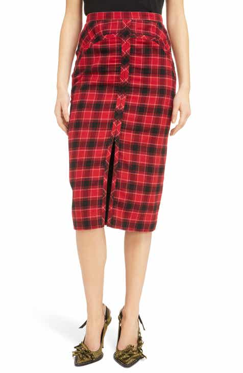 Nº21 Plaid Zip Front Pencil Skirt by N.21