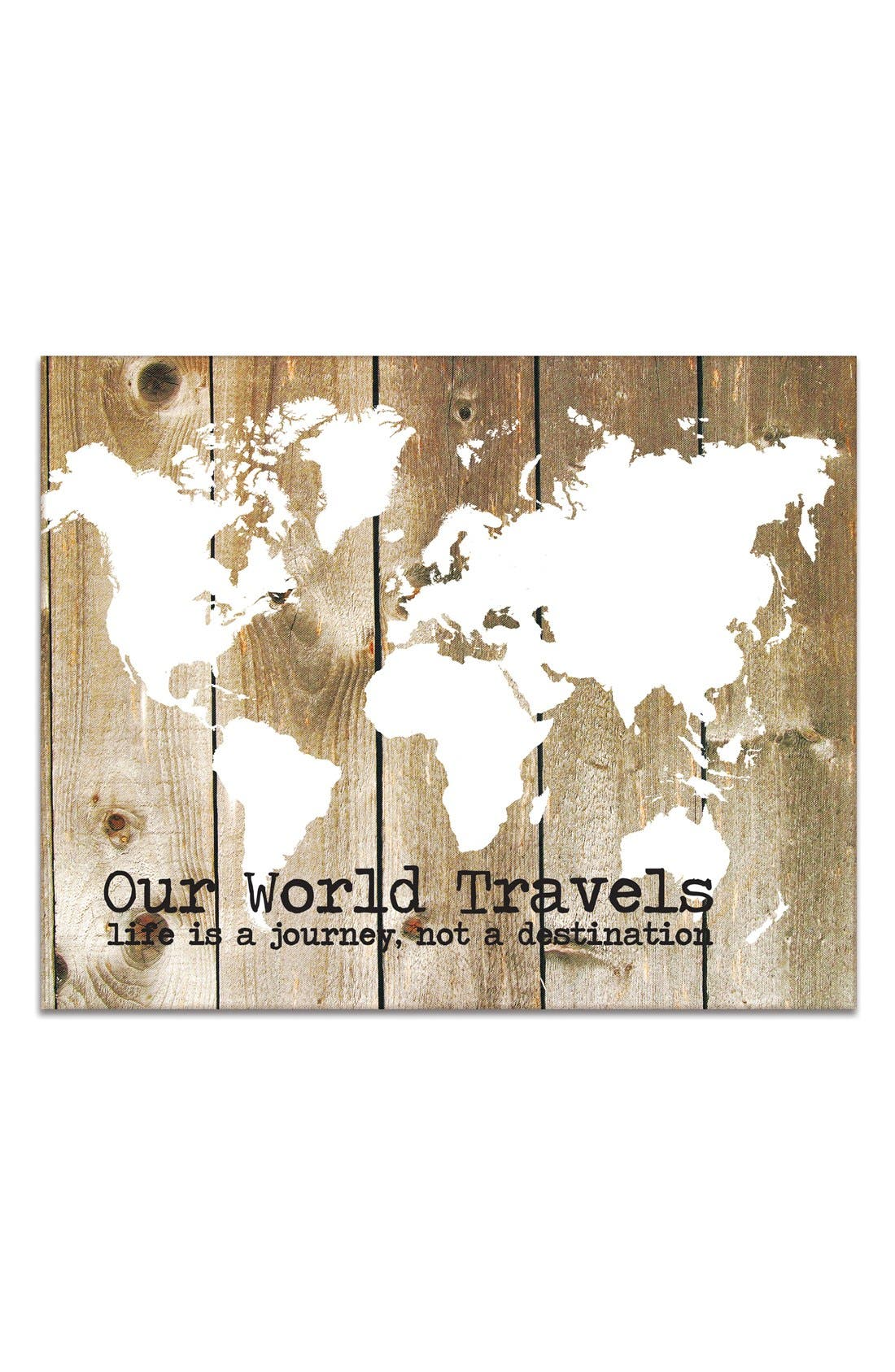 'Our World Travels' Canvas Wall Art,                             Main thumbnail 1, color,                             Brown
