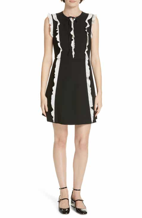 Red Valentino Contrast Ruffle A Line Dress