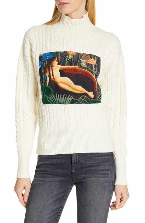 d2d72476 KENZO Painting Panel Cable Knit Wool Blend Sweater