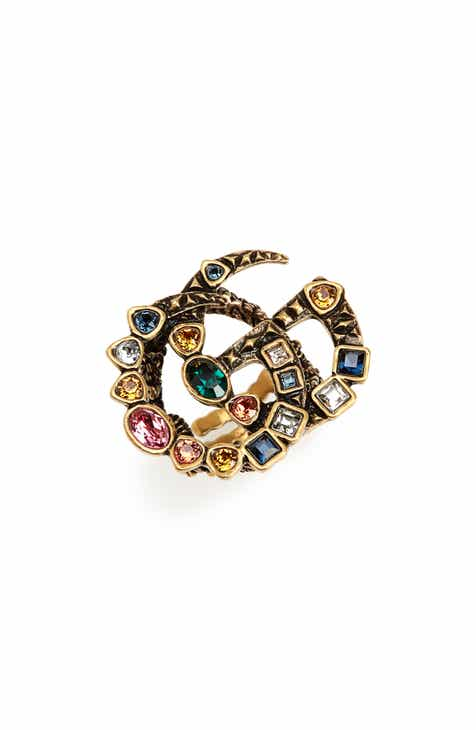 39a35ac15fe Gucci Fashion Show Double G Colored Crystal Ring
