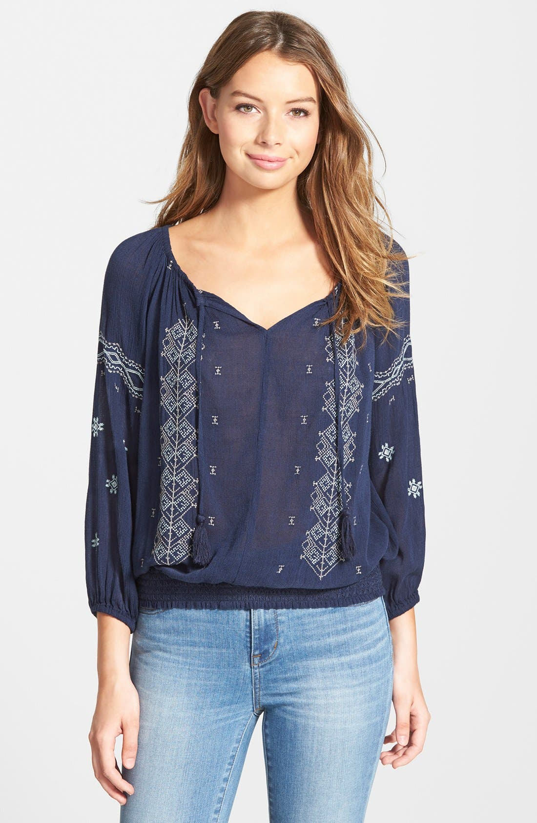Alternate Image 1 Selected - Caslon® Embroidered Smocked Waist Peasant Top