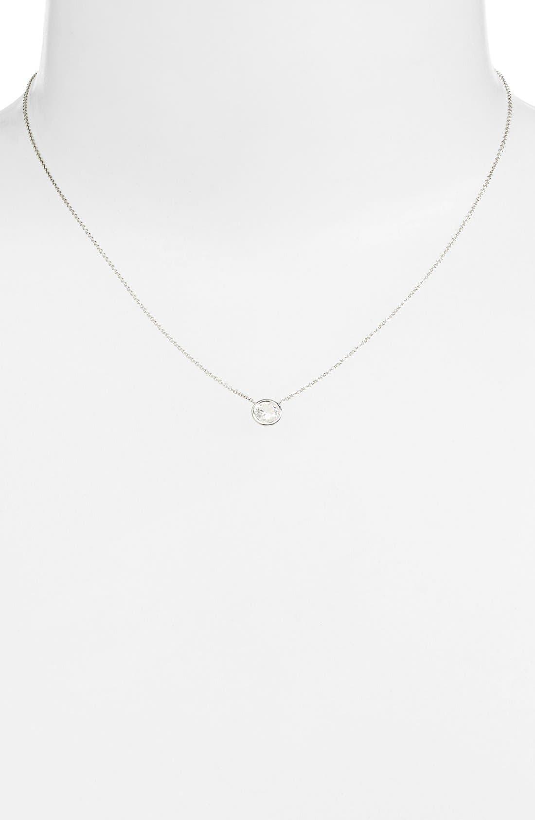 Large Diamond Solitaire Pendant Necklace,                             Alternate thumbnail 2, color,                             White Gold