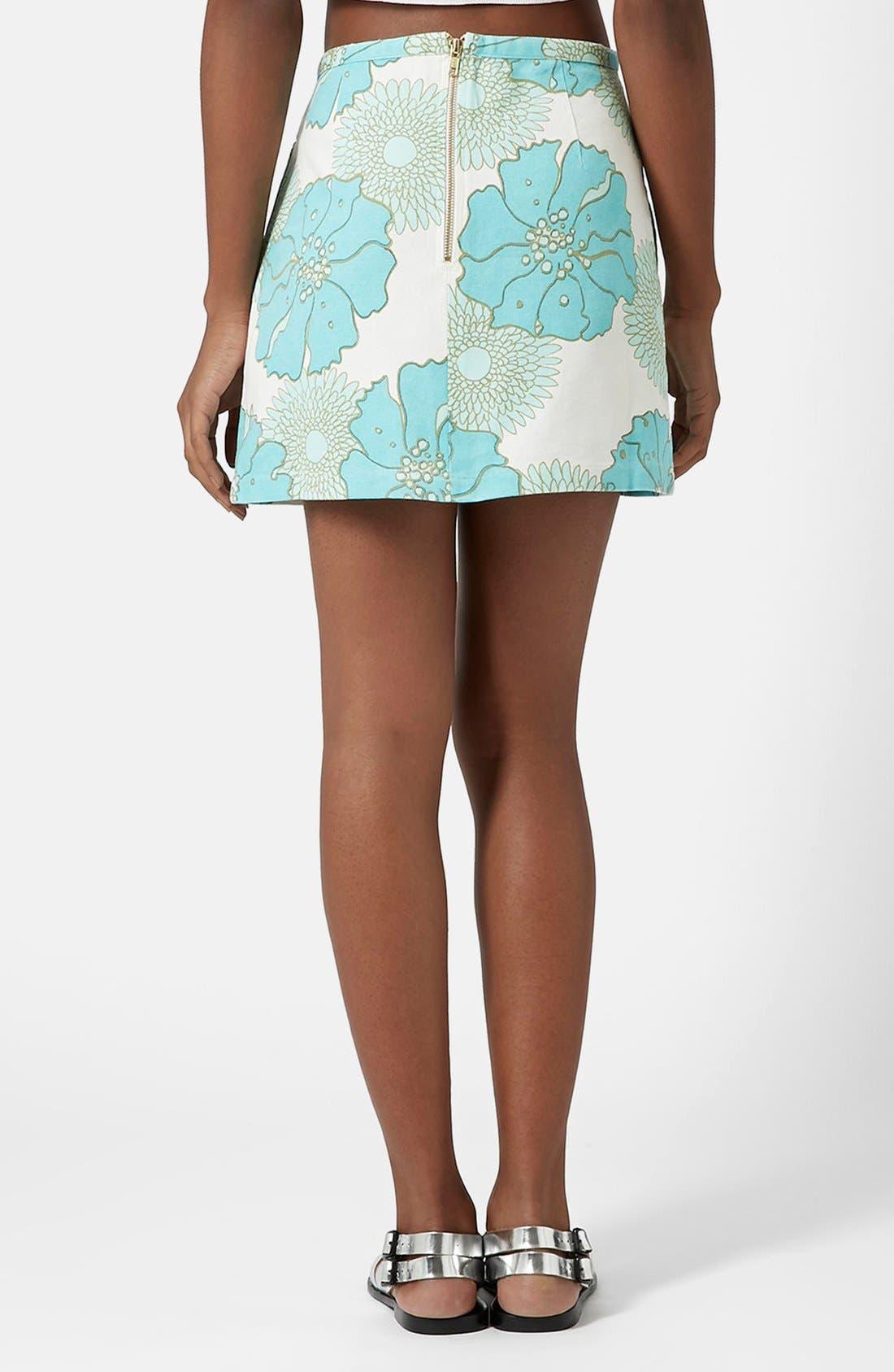 Alternate Image 2  - Topshop Retro Floral Miniskirt